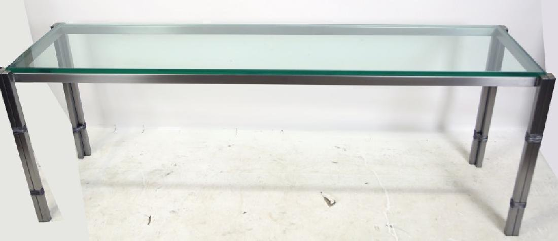 CONTEMPORARY BRUSHED STEEL & GLASS CONSOLE TABLE