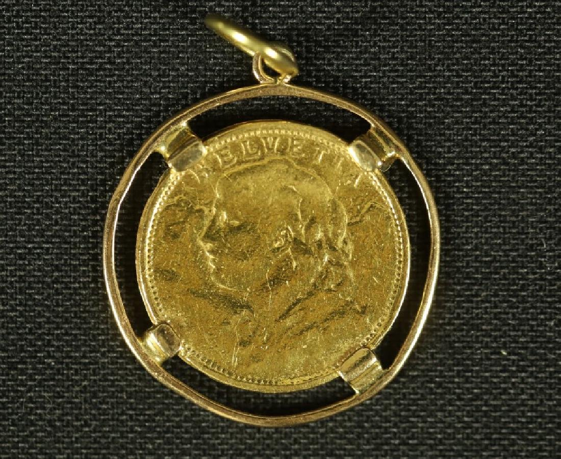 20 FRANKS SWISS GOLD COIN PENDANT