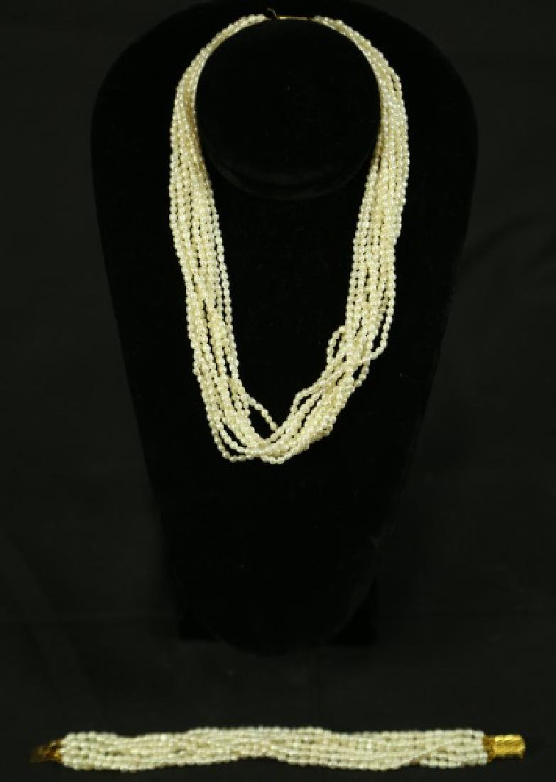 FRESHWATER PEARL TEN STRAND NECKLACE & BRACELET