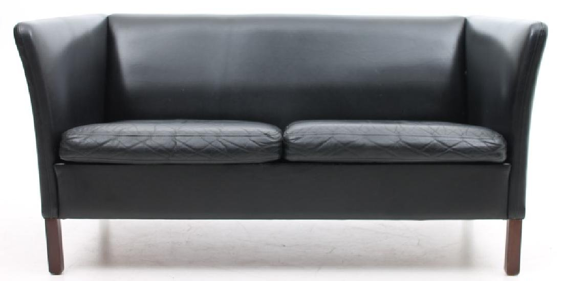 DANISH MODERN BLACK LEATHER LOVE SEAT
