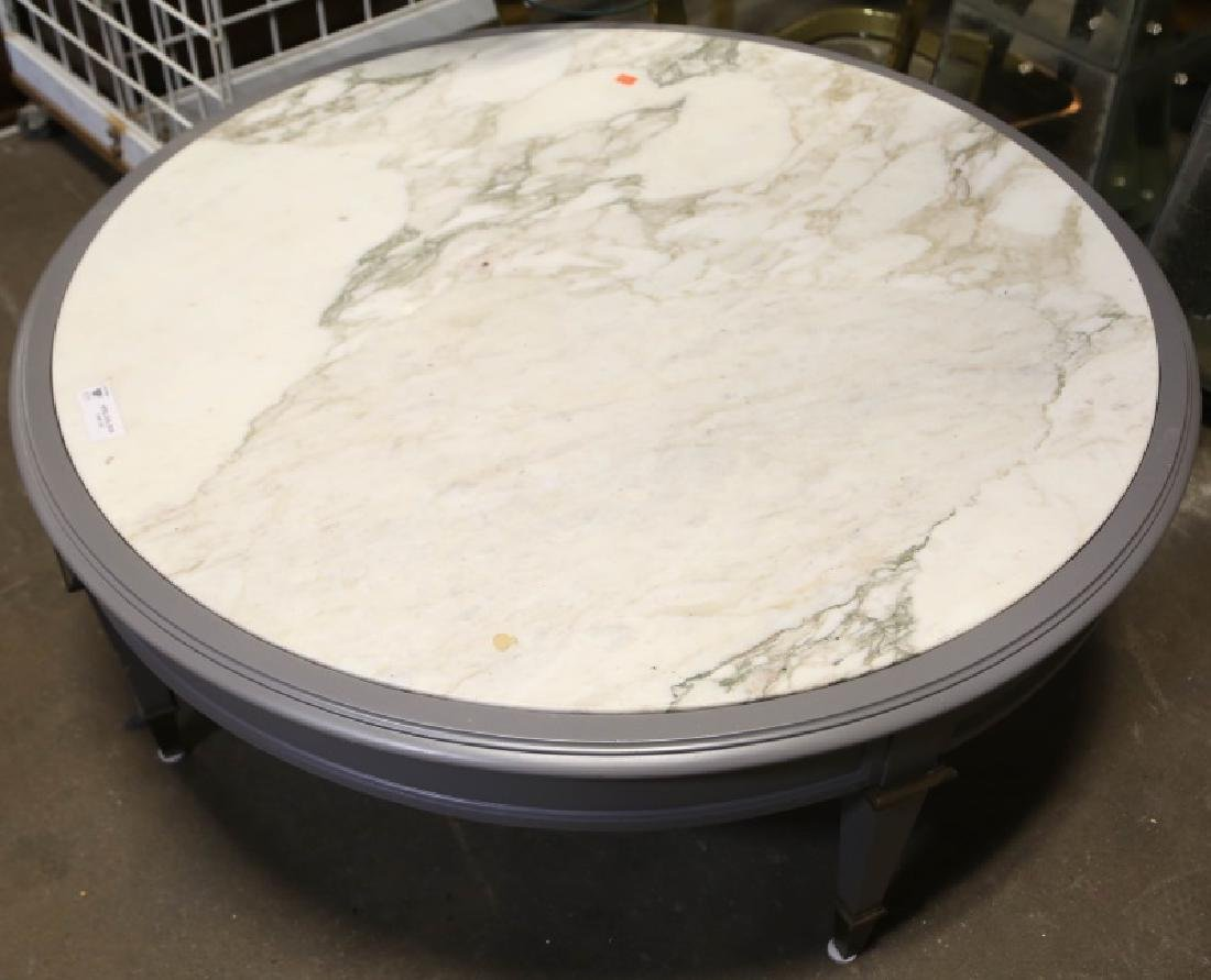 CONTEMPORARY INLAID MARBLE TOP COFFEE TABLE
