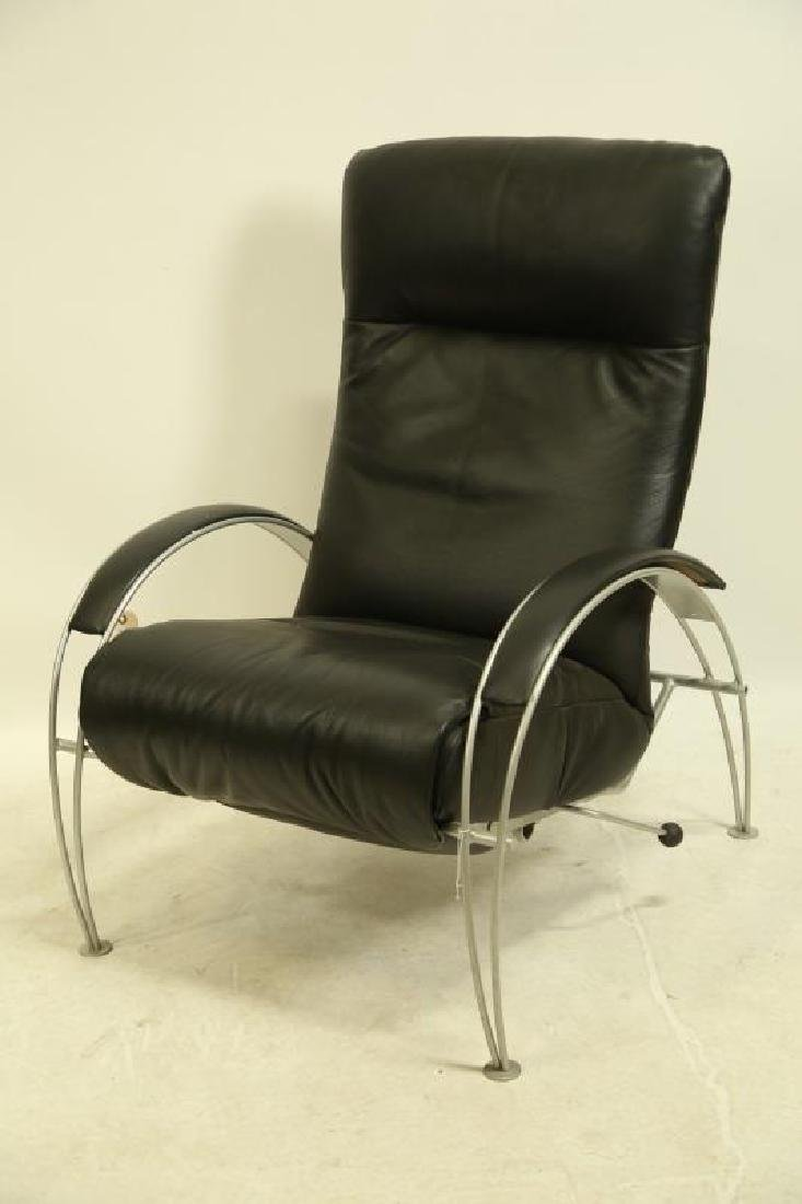 CONTEMPORARY STEEL AND LEATHER RECLINING CHAIR
