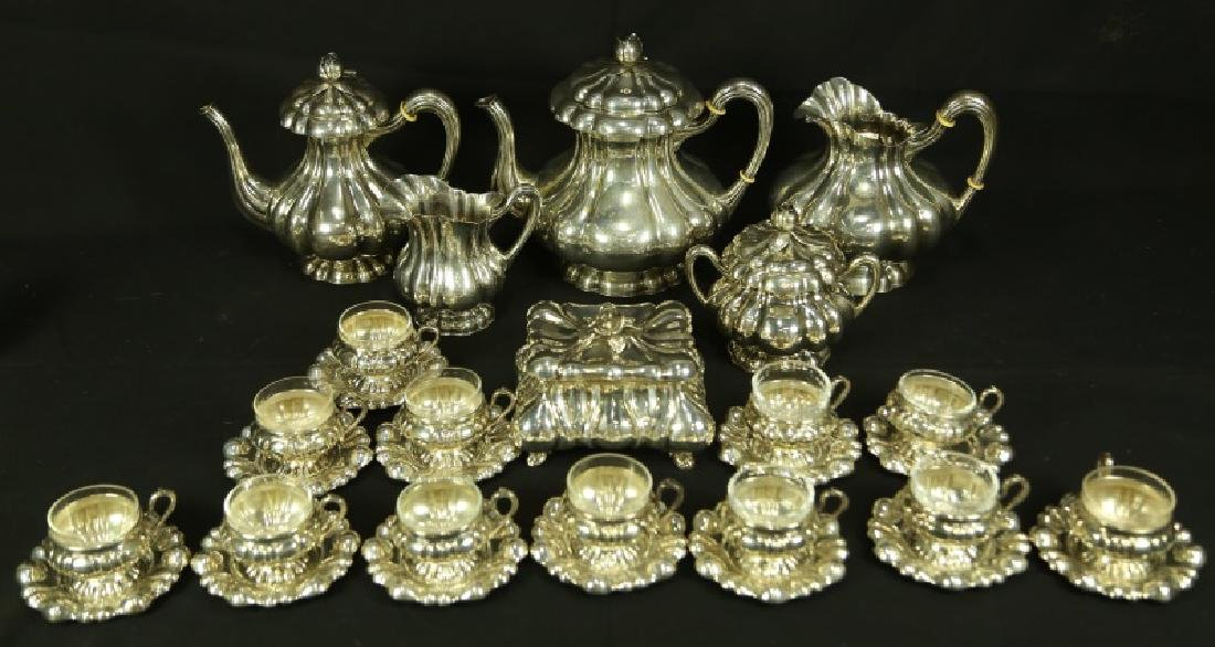 STERLING SILVER 12 CUP & SAUCERS WITH COFFEE SET