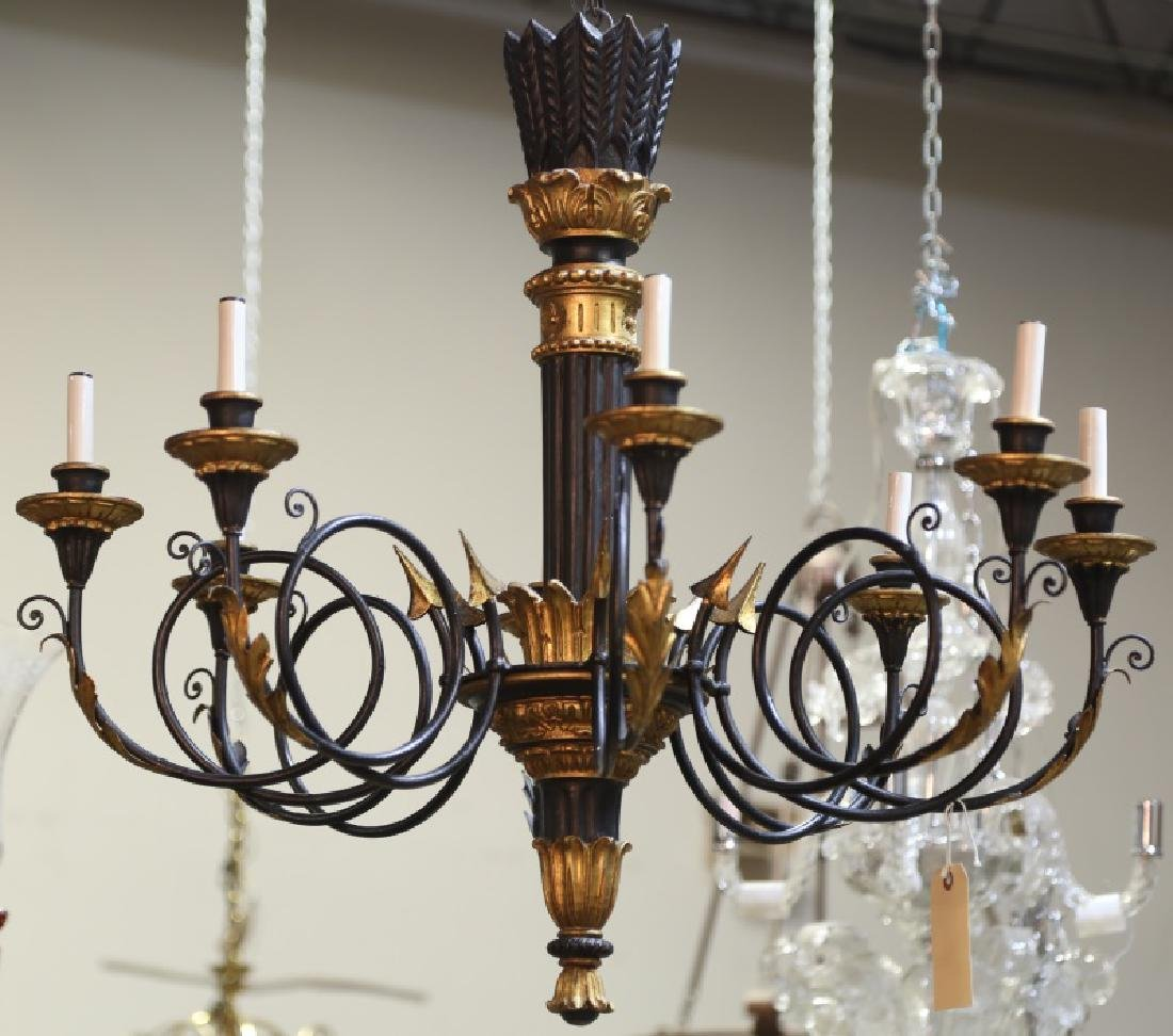 NEOCLASSICAL STYLE WOOD & METAL CARVED CHANDELIER