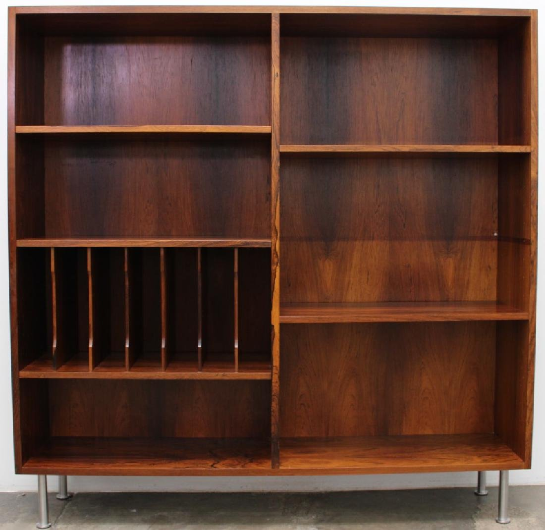 DANISH MODERN ROSEWOOD WITH BLACK TOP BOOKCASE