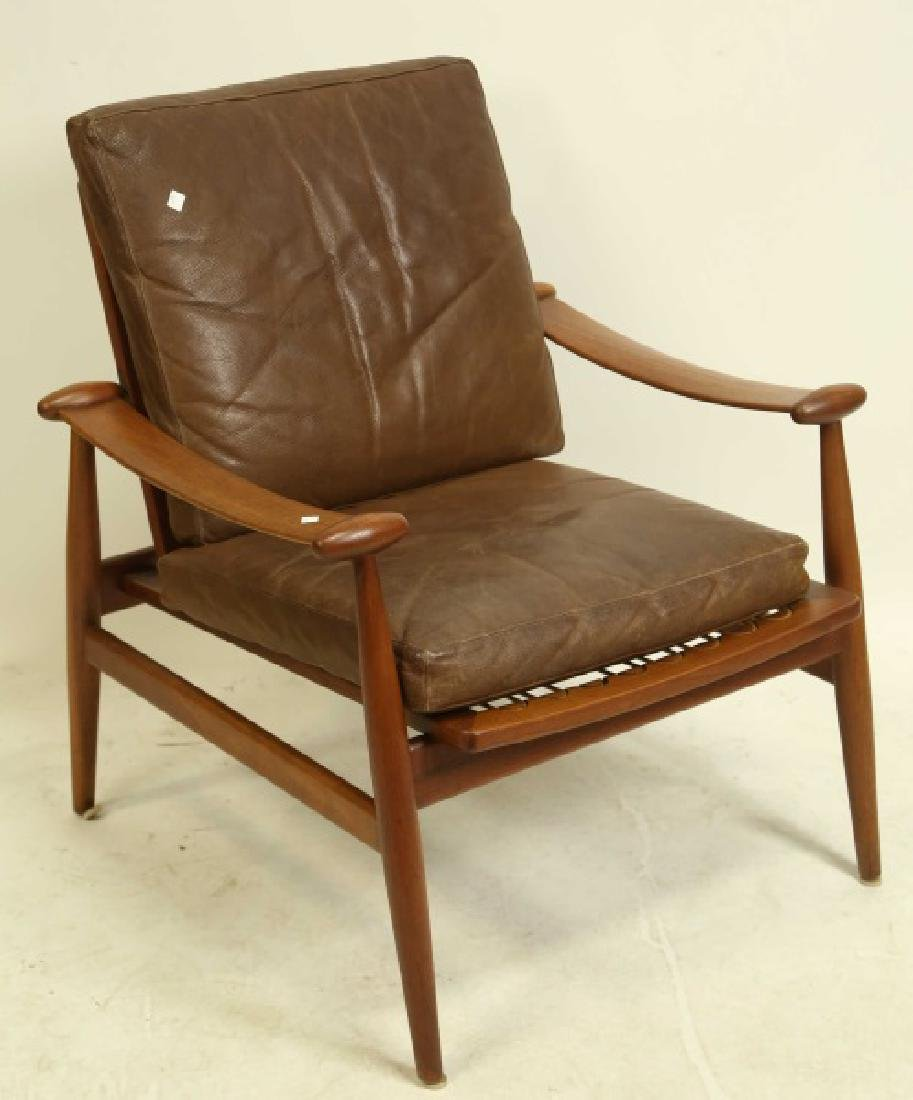 "FINN JUHL DANISH MODERN LEATHER ""SPADE"" ARMCHAIR"