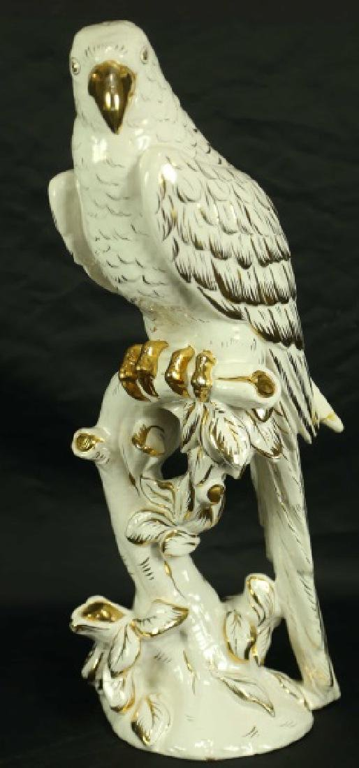 WHITE WITH GILT PORCELAIN PARROT