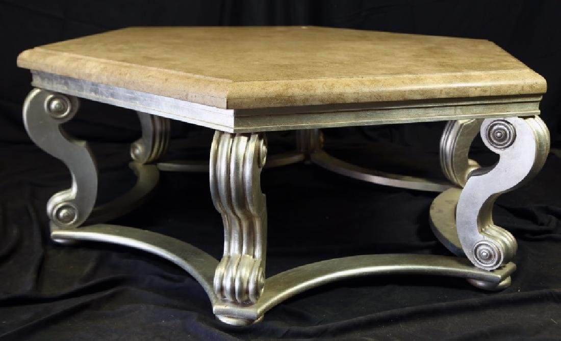 MARBLE TOP TABLE ON SILVERLEAFED SCROLL LEG BASE