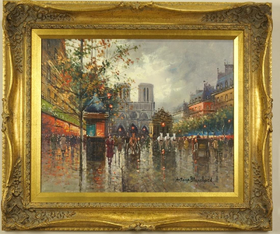 ANTOINE BLANCHARD JR. PARISIAN SCENE OIL ON CANVAS
