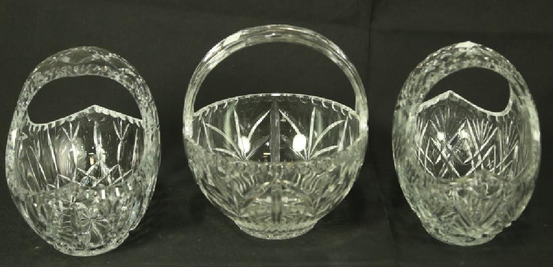 SET OF THREE CUT GLASS BASKETS