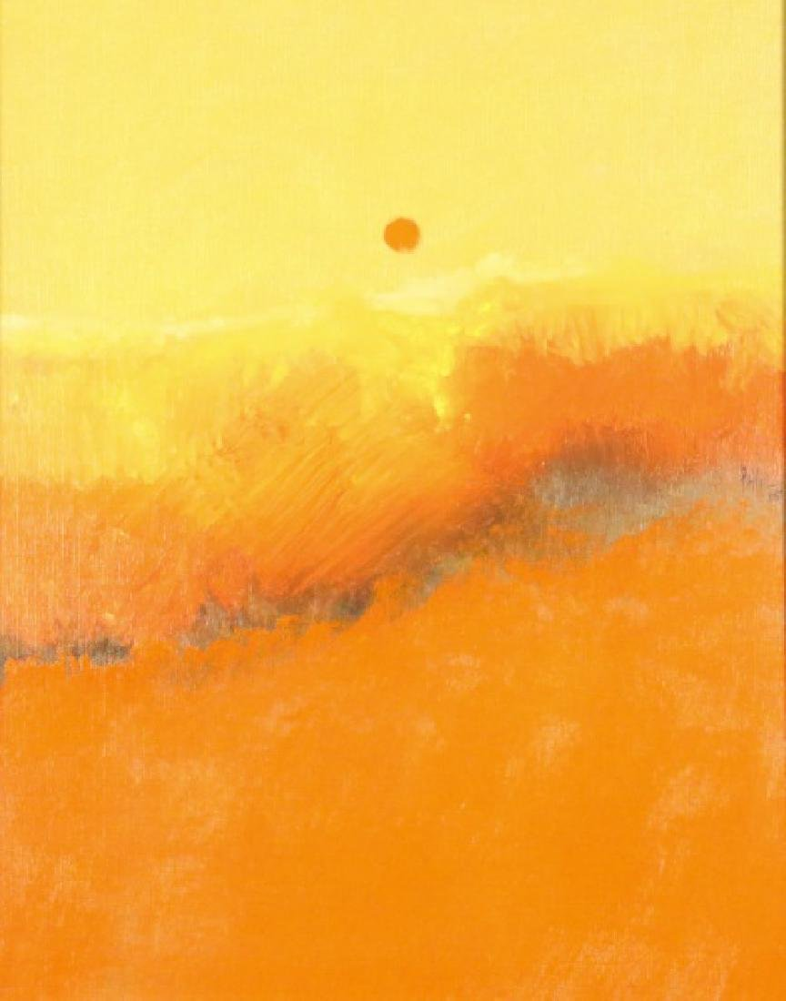 LAMAR BRIGGS ABSTRACT SUNSET OIL ON PANEL, 1965