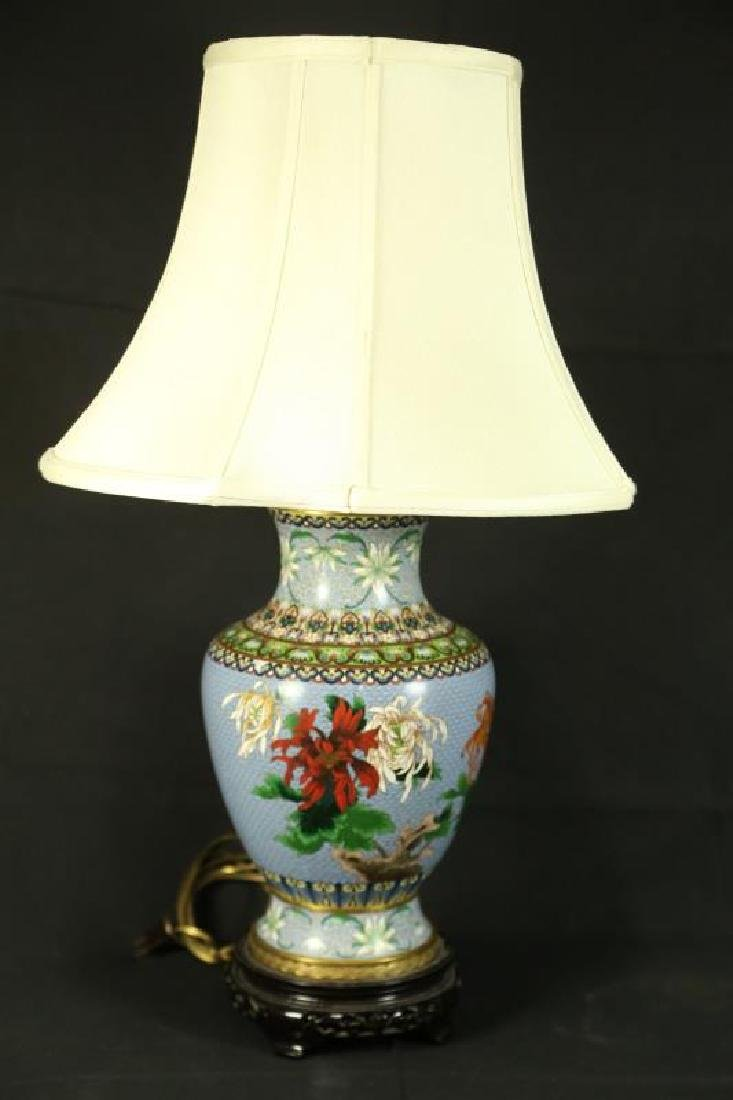 PAIR OF CHINESE CLOISONNE VASES NOW LAMPS