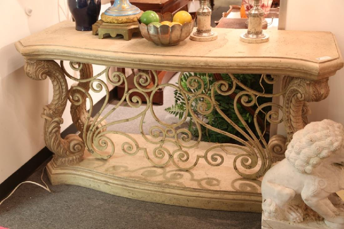 EUROPEAN STYLE LIMESTONE TOP CONSOLE TABLE