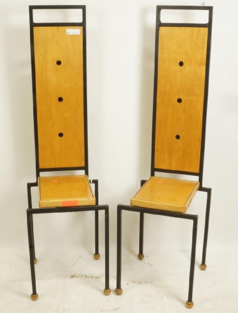 PAIR MODERN ART POPLAR & WELDED STEEL SIDE CHAIRS