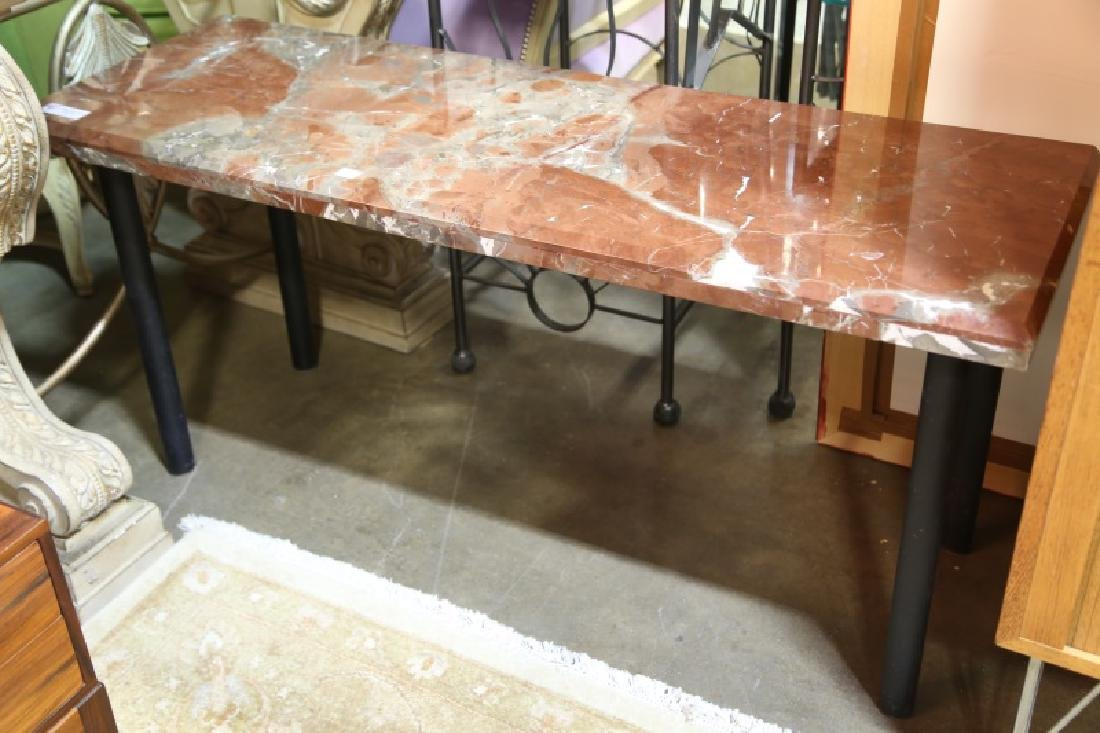 LOW ROUGE MARBLE TOP & METAL CONSOLE