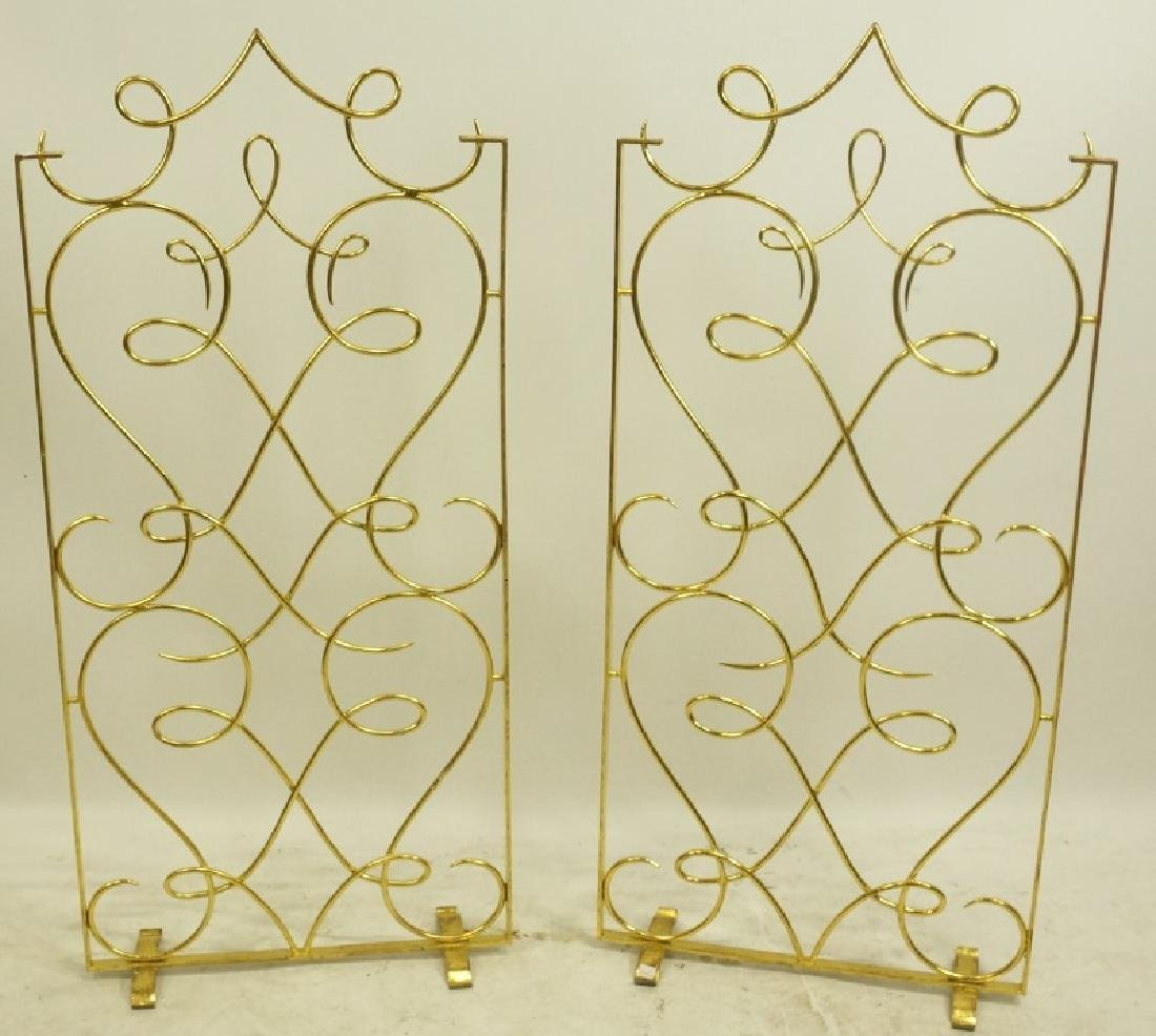 PAIR OF WROUGHT GILT METAL SCROLL PATTERN SCREENS