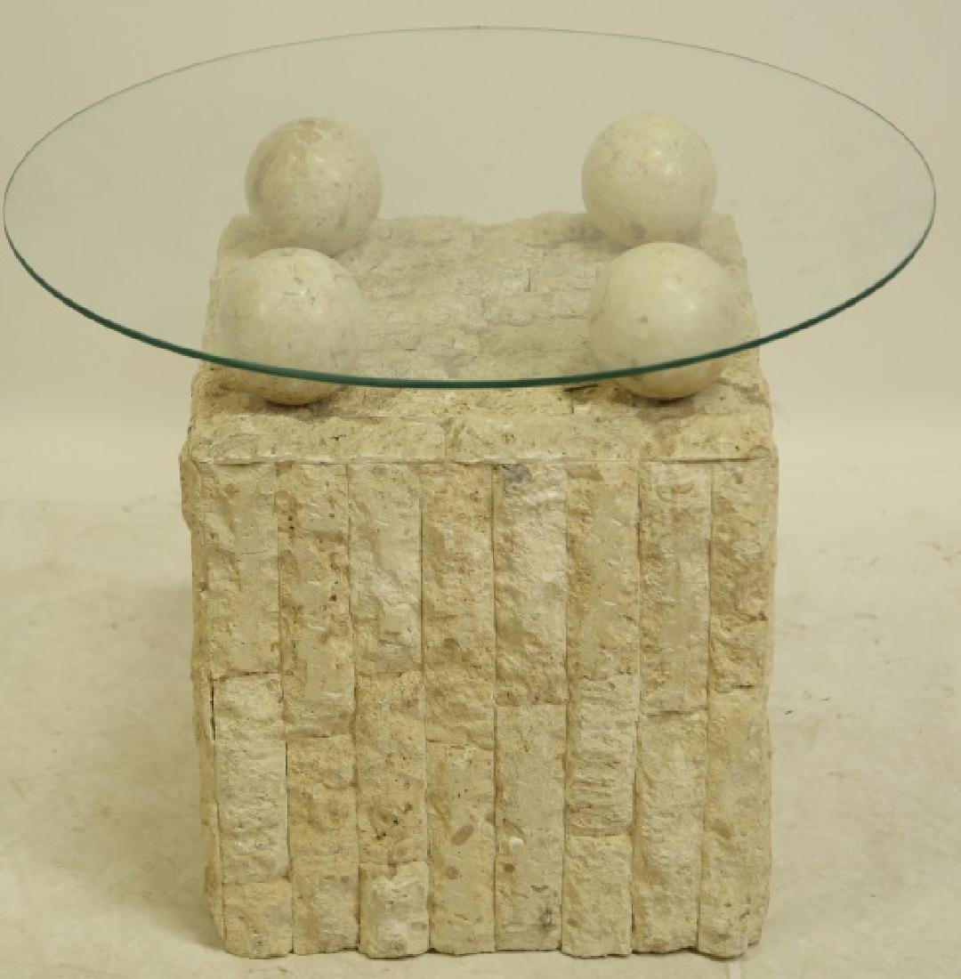 GLASS TOP LIMESTONE TILE BASE SIDE TABLE