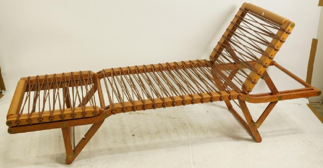 HERMES LEATHER AND TEAK CHAISE