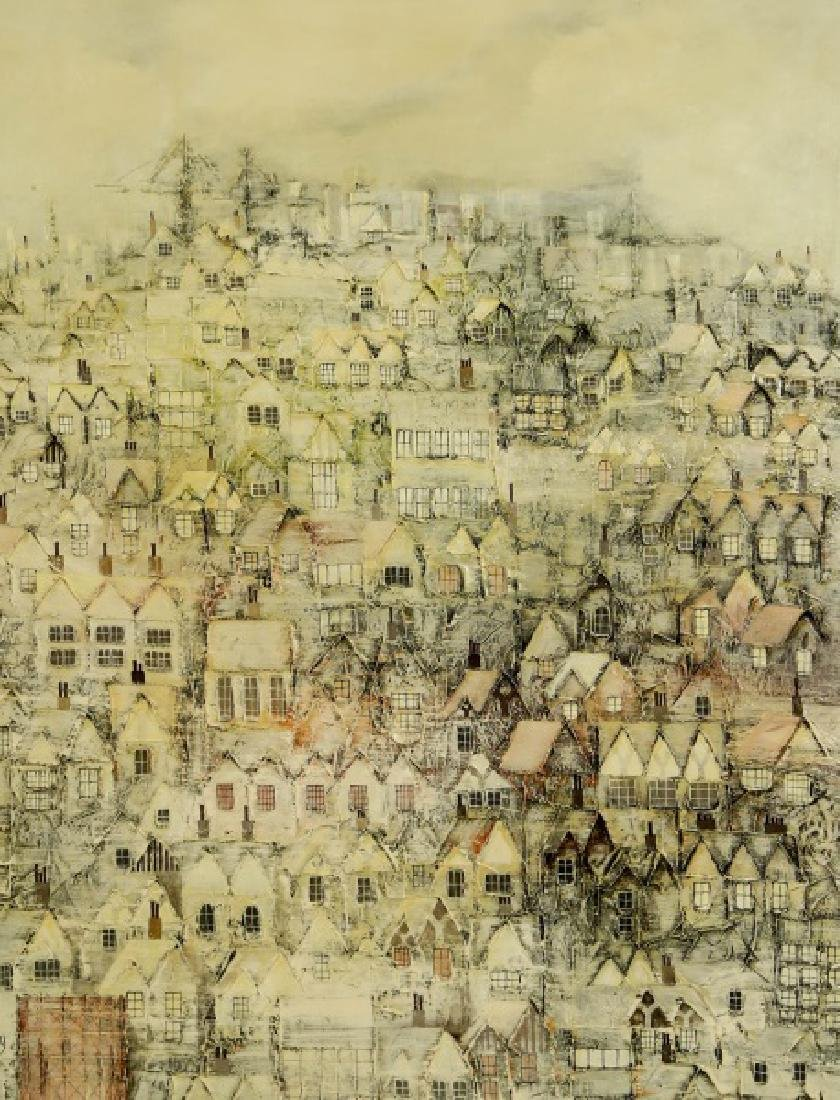 """BILL TOLLEY """"TOWNSCAPE"""" ACRYLIC ON CANVAS PAINTING"""