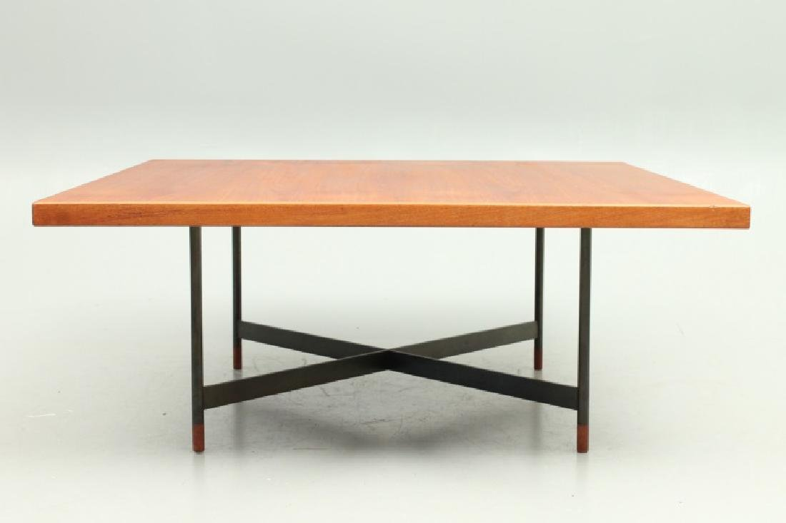 A VERY RARE NIELS VODDER TEAK & STEEL COFFEE TABLE