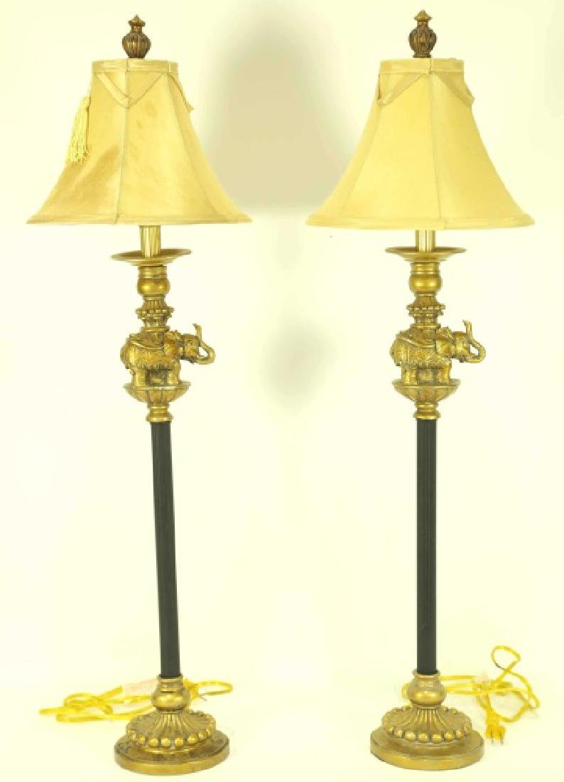 PAIR OF ELEPHANT MOTIF CANDLESTICK LAMPS