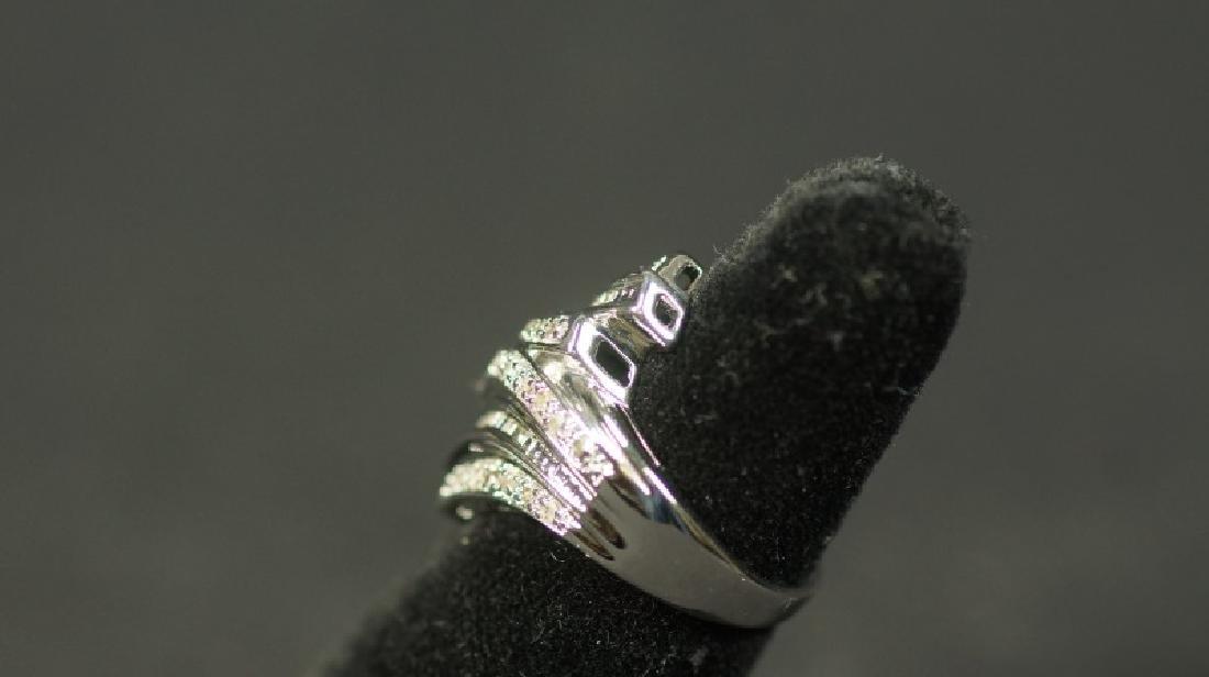 (2) LARGE DIAMOND BAGUETTE DINNER RING