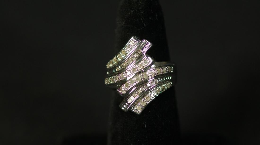 (2) LARGE DIAMOND BAGUETTE DINNER RING - 2