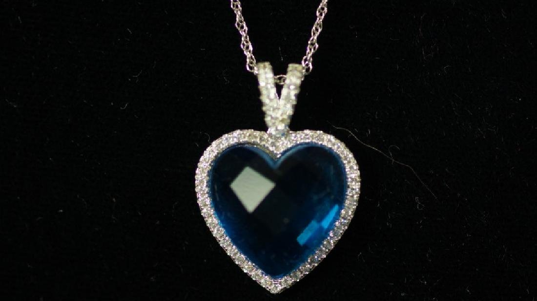 (13) BLUE TOPAZ SWEETHEART NECKLACE - 2