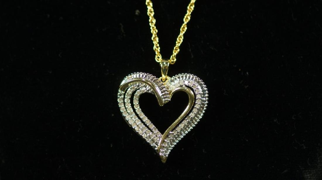 (20) LARGE DIAMOND HEART NECKLACE - 2