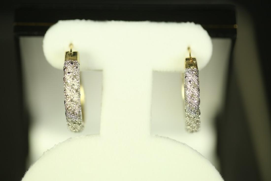 (35) DIAMOND HOOP EARRINGS - 2