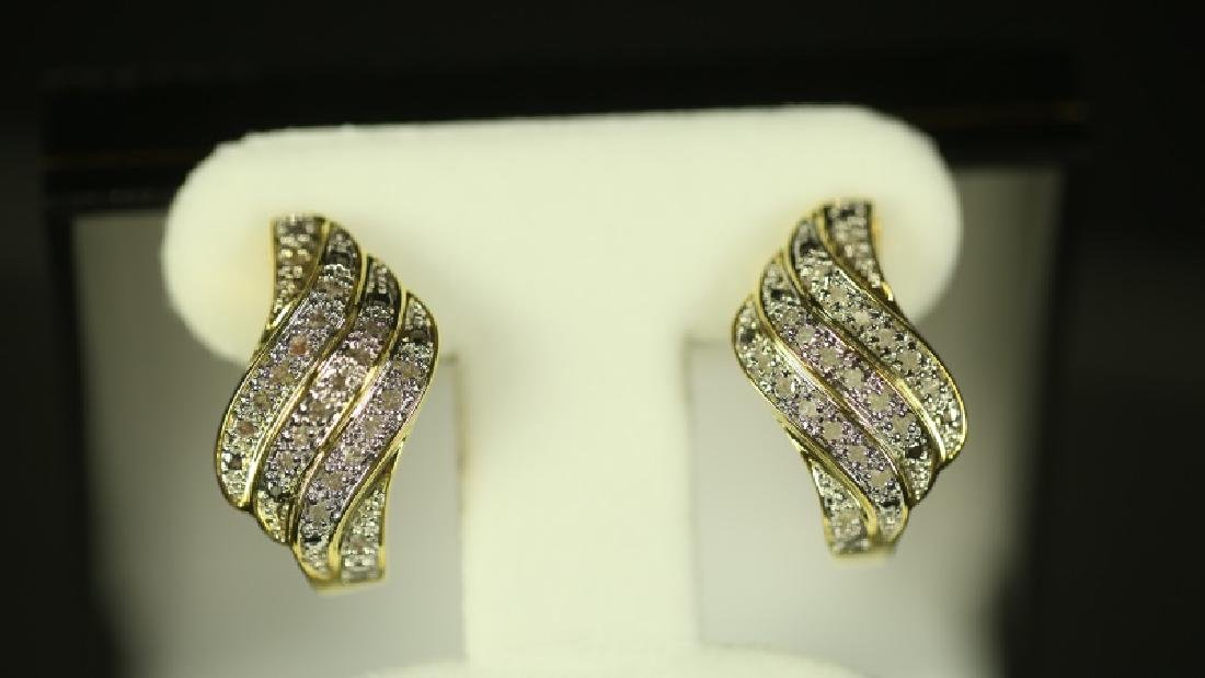 (42) LARGE DIAMOND CLUSTER EARRINGS