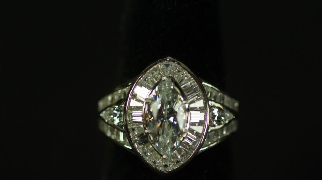 (47) 4.24 Ct. MARQUISE WHITE SAPPHIRE RING
