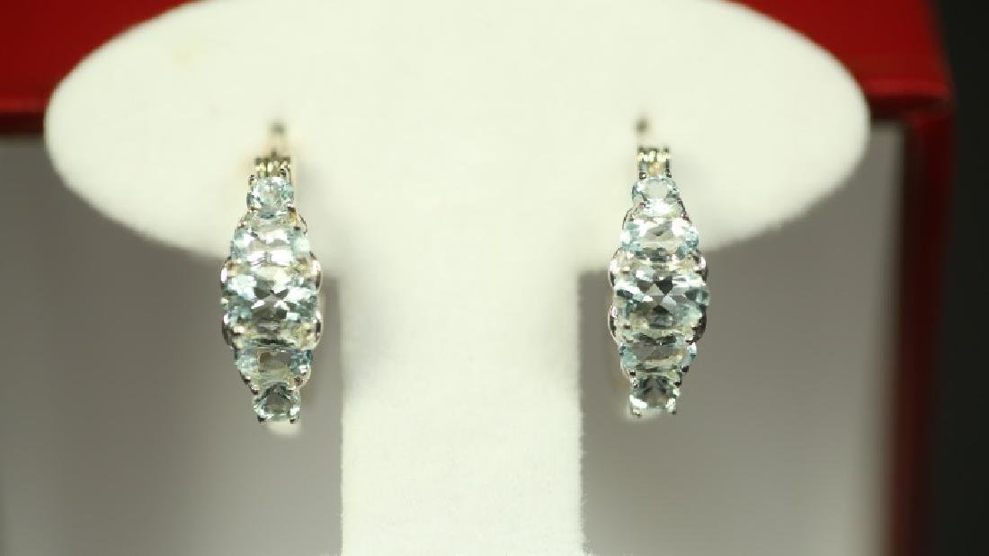 (63) AQUAMARINE ANNIVERSARY EARRINGS - 2