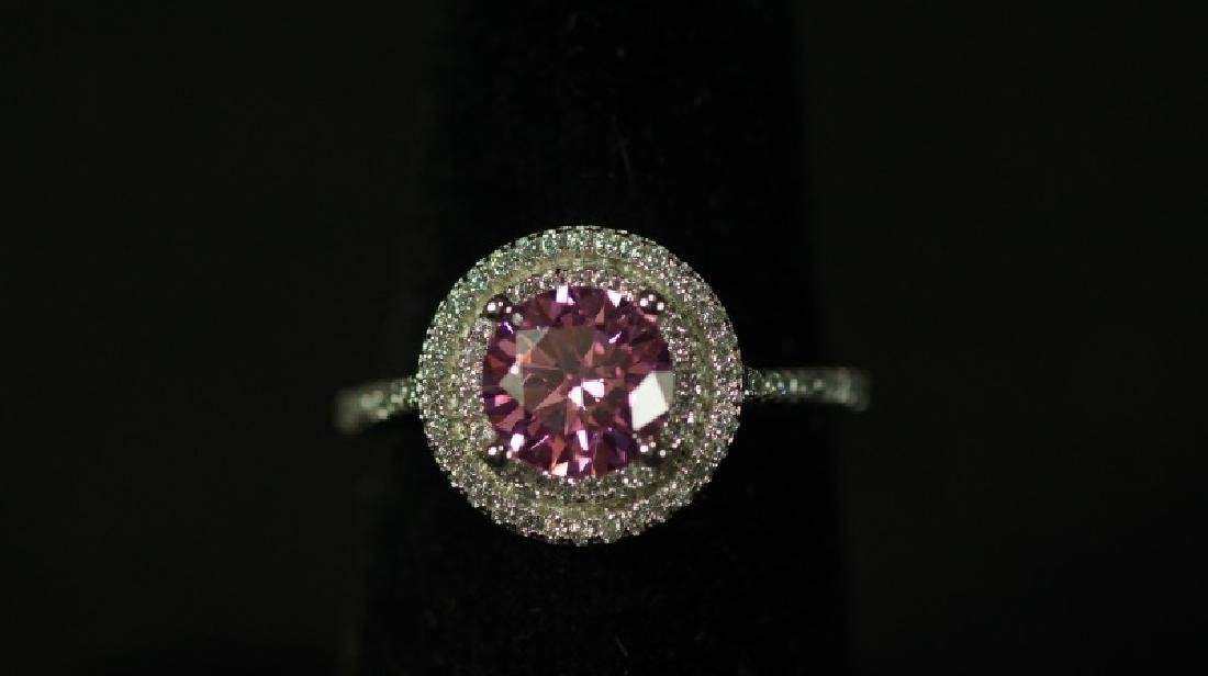(82) PINK SAPPHIRE SOLITAIRE HALO RING