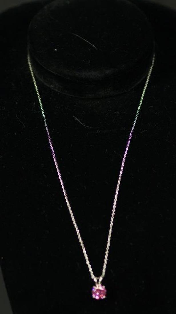 (83) PINK SAPPHIRE SOLITAIRE NECKLACE
