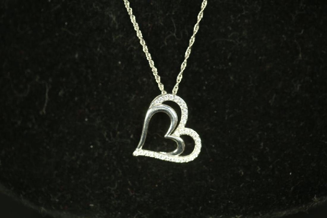 (86) WHITE SAPPHIRE HEART NECKLACE - 2