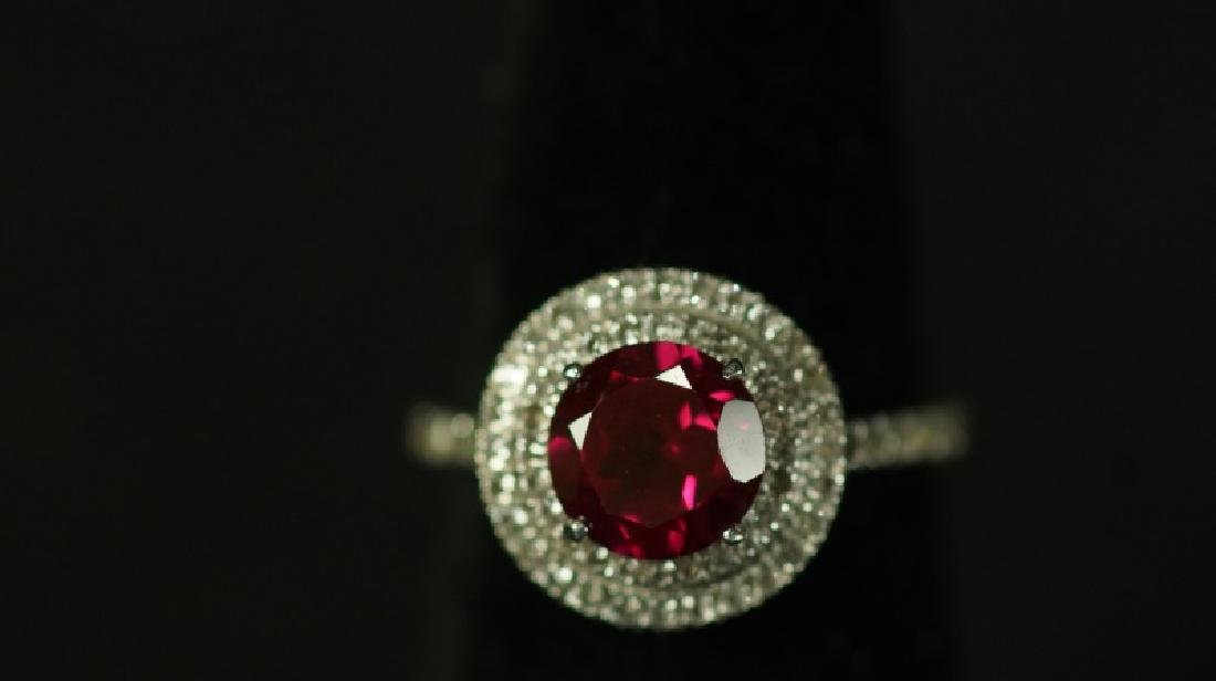 (96) 3.0 Ct. RUBY HALO RING - 2