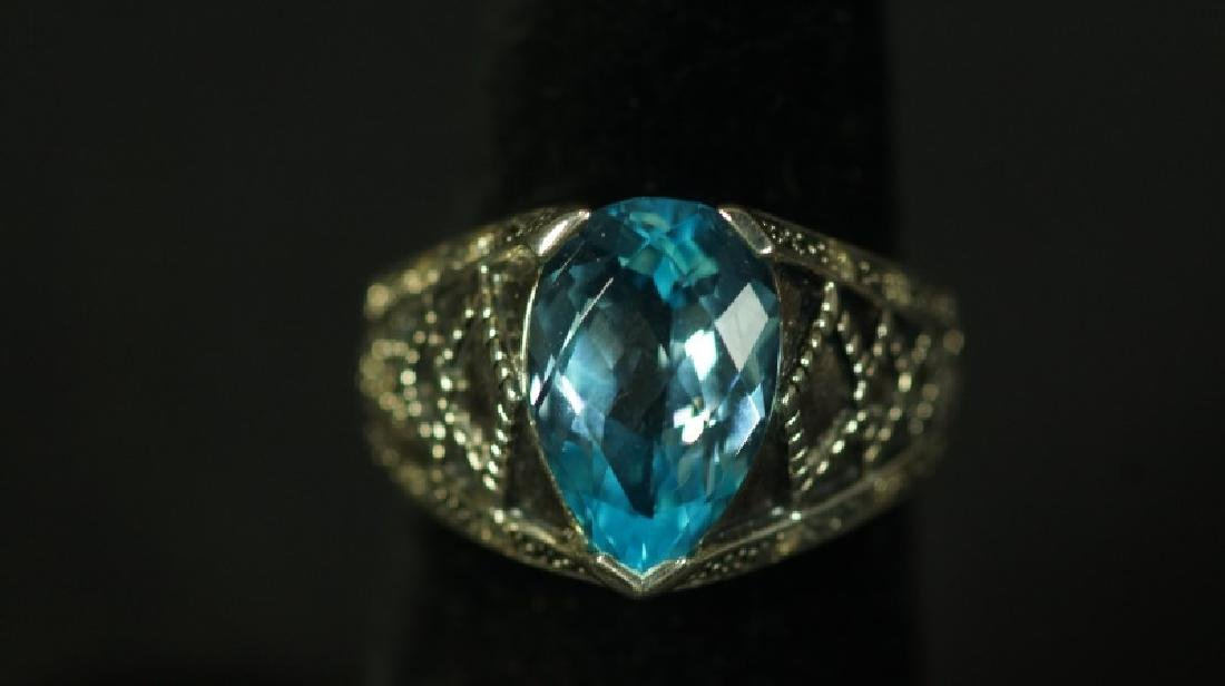 (108) 3.05 Ct. PEAR CUT BLUE TOPAZ ESTATE RING - 2