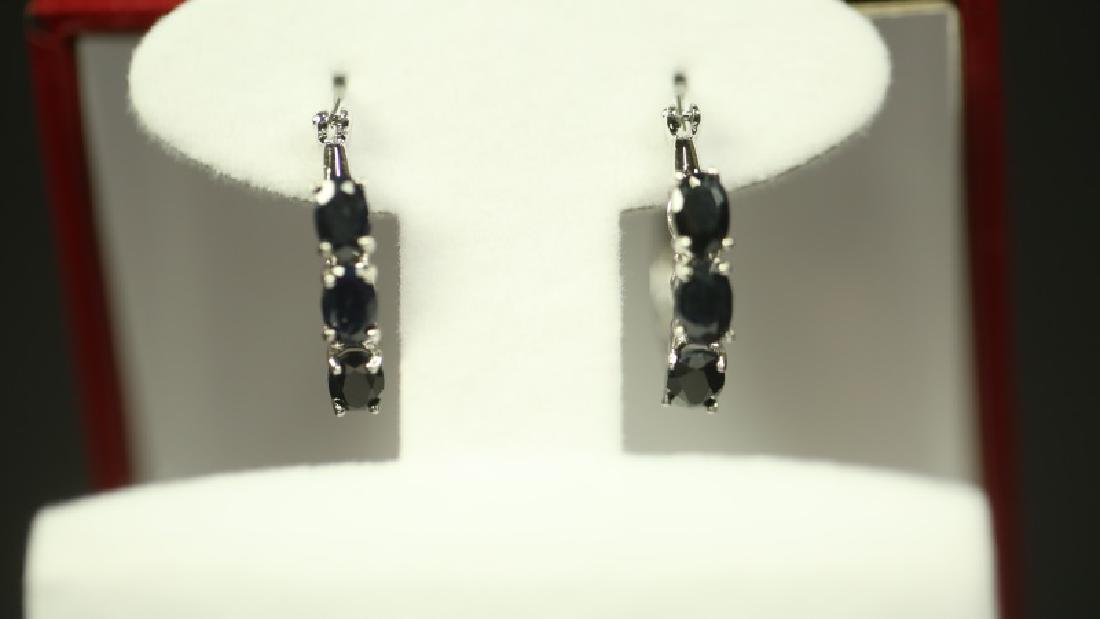 (112) GENUINE SAPPHIRE DINNER EARRINGS - 2
