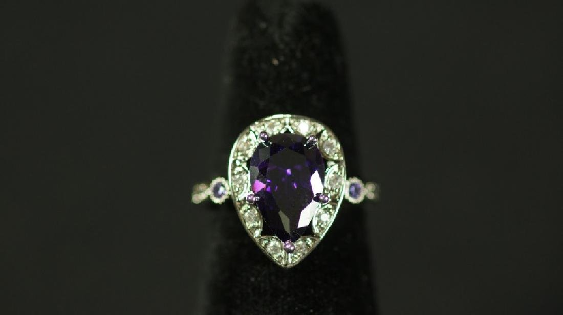 (113) PEAR CUT 2.85 Ct. AMETHYST ESTATE RING