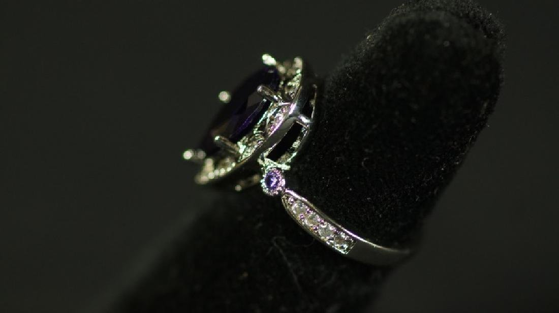 (113) PEAR CUT 2.85 Ct. AMETHYST ESTATE RING - 2