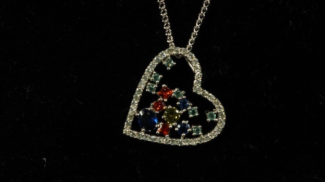 (120) GEMSTONE HEART NECKLACE - 2