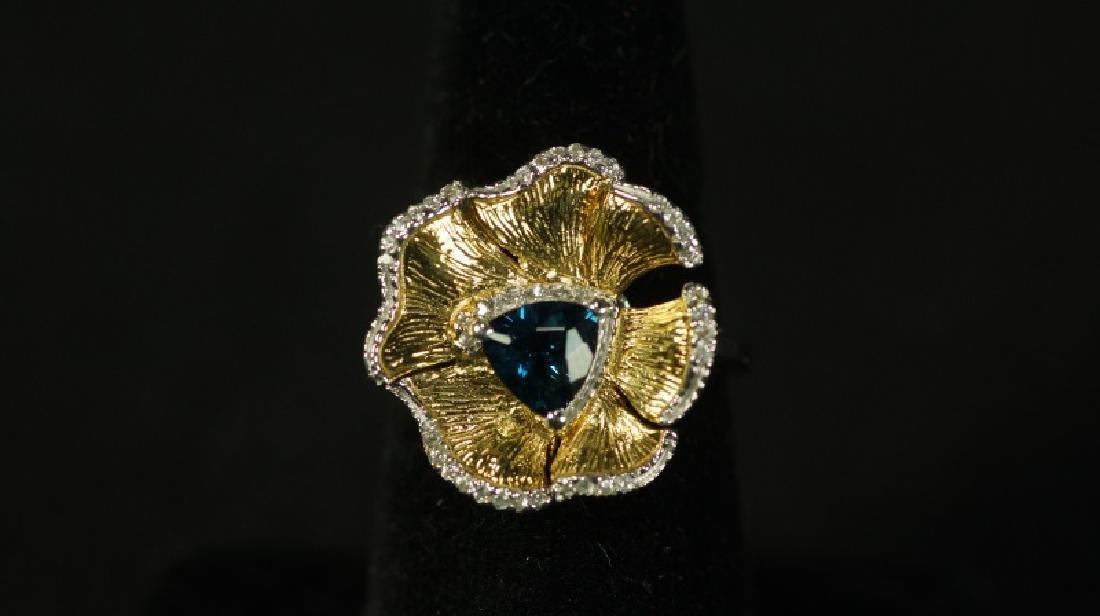 (121) LONDON BLUE TOPAZ DESIGNER RING