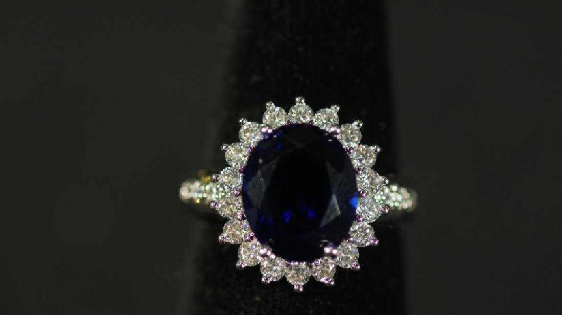 (122) OVAL CUT 5.0 Ct. SAPPHIRE ESTATE RING - 2