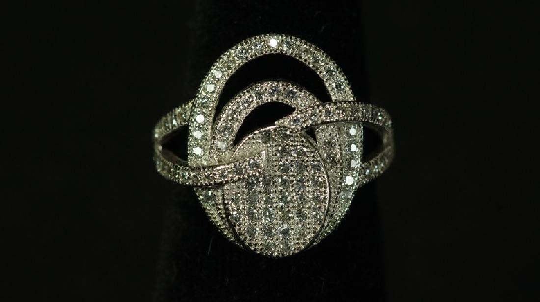 (139) WHITE TOPAZ DESIGNER PAVE RING