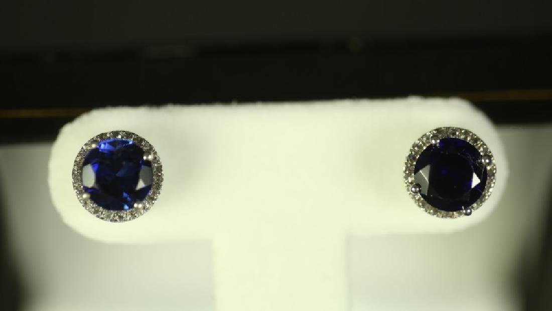 (147) ROUND CUT SAPPHIRE ESTATE EARRINGS