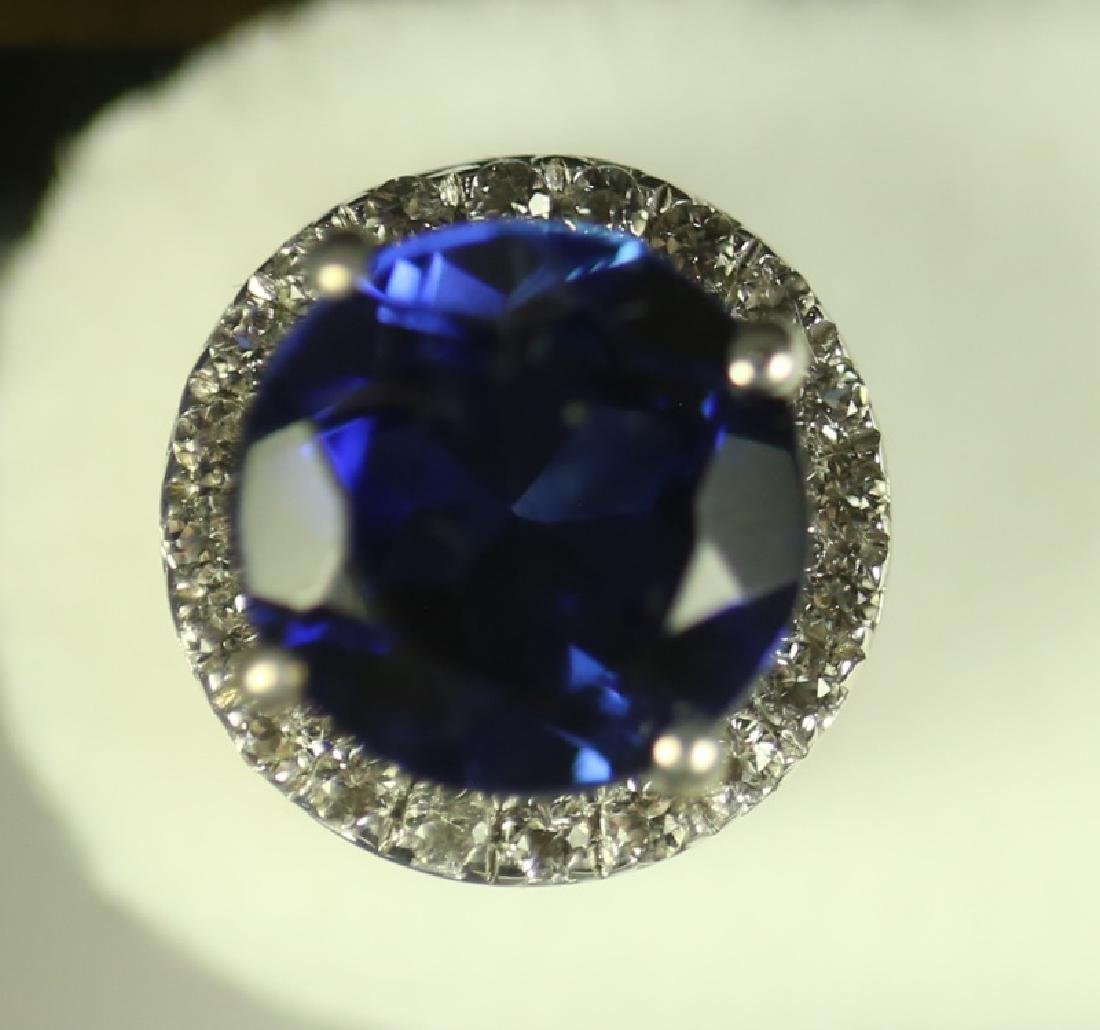 (147) ROUND CUT SAPPHIRE ESTATE EARRINGS - 2