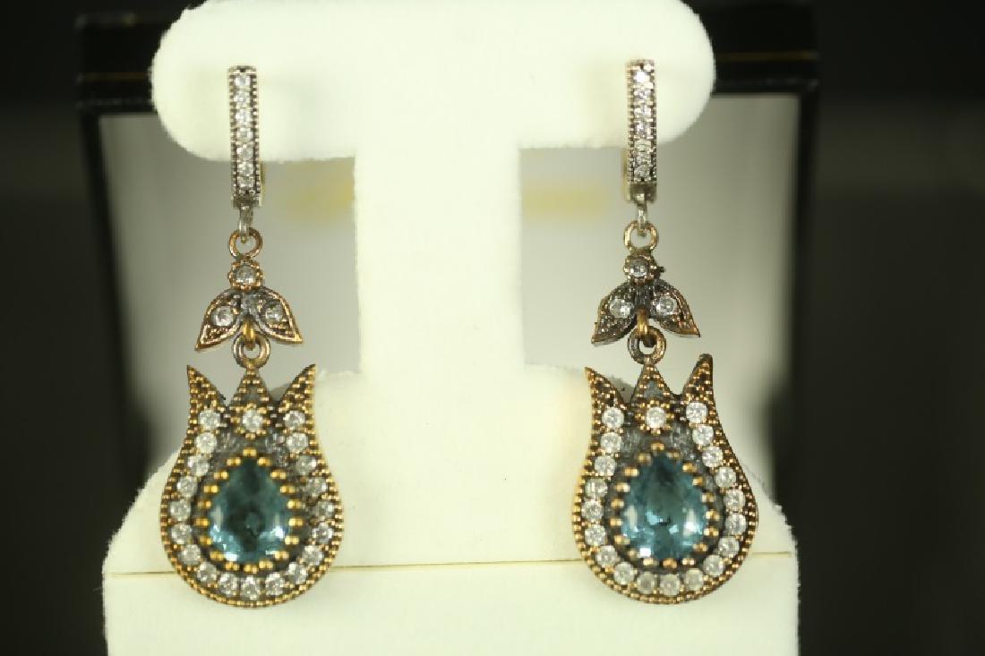 (155) BLUE TOPAZ TURKISH ESTATE EARRINGS