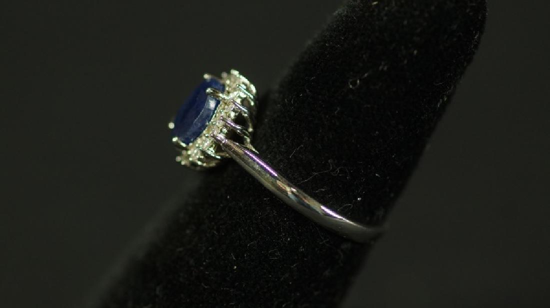 (157) SQAURE CUT TANZANITE & DIAMOND DINNER RING
