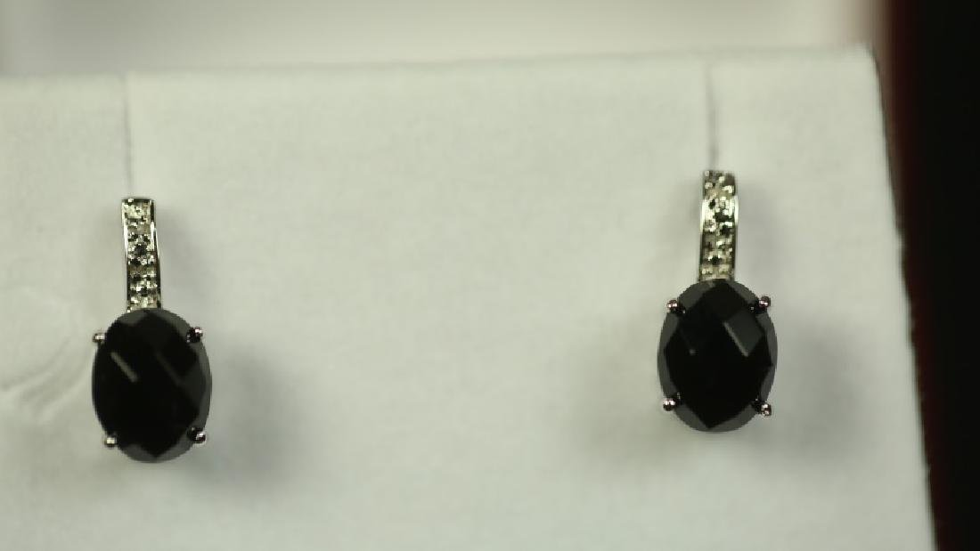 (165) ONYX & DIAMOND ESTATE EARRINGS